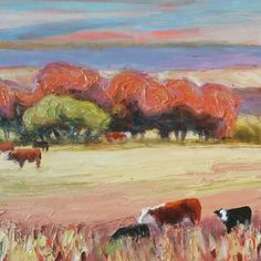 A bright little landscape with cows to brighten a spot on the wall.