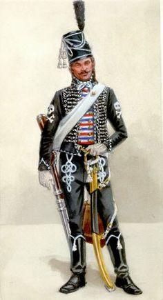 FRANCE - Hussard de la Mort, 1793 - Le décret du 12 juin 1792 prévoit la formation, à Paris, de 2 compagnies de hussards, composées de jeunes gens qui financent leur uniforme et leur …
