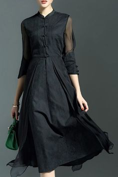 Elegant 3/4 Sleeve Mandarin Collar Midi Dress For Women #women, #men, #hats, #watches, #belts, #fashion