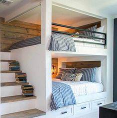 10 farmhouse interior design concept Will Surely Blow Your Mind Bunk Bed Rooms, Bunk Beds Built In, Loft Beds, Teen Room Decor, Bedroom Decor, Bedroom Ideas, Girls Bedroom, Lego Bedroom, Minecraft Bedroom