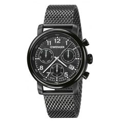 Wenger Urban Classic Chrono Mens Swiss Army Watch (Black Strap/Black Dial)