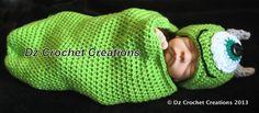 Crochet Monster Mike beanie 0-3 months Baby Sack by HandMadeByDz, $30.00