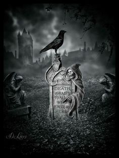 45 ideas for gothic love art graveyards Dark Fantasy Art, Dark Gothic Art, Dark Art, Arte Horror, Horror Art, Graveyard Tattoo, Grim Reaper Art, Raven Art, Cemetery Art