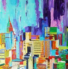 "Daily Paintworks - ""Cityscape NewYork"" - Original Fine Art for Sale - © John Barney Black Abstract, Abstract Print, Living Room Canvas, Night Pictures, Skyline Art, Fine Art Gallery, Oil Painting On Canvas, Art For Sale, Street Art"