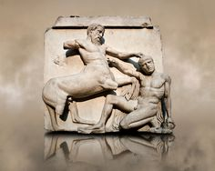 Photo of Sculpture of Lapiths and Centaurs battling from the Metope of the Parthenon on the Acropolis of Athens no XXX. Ancient Greek Art, Ancient Greece, Statues, Athens Acropolis, Athens Greece, Elgin Marbles, Rome, Empire Romain, Architectural Sculpture