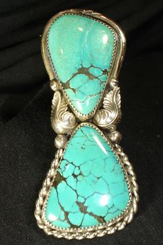 ORNATE NAVAJO STERLING SILVER TURQUOISE RING SZ 9.5 NATIVE AMERICAN DEAD PAWN