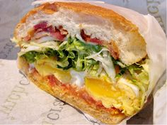 Fried Egg, Bacon and Gorgonzola Sandwich from wichcraft by nycblondieandbrownie Cajun Recipes, Italian Recipes, Real Food Recipes, Cooking Recipes, Yummy Food, Yummy Recipes, Breakfast Dishes, Breakfast Recipes, Food Park