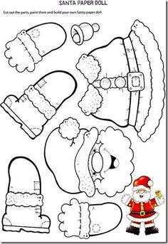 La poupée du #PapaNoel en papier - #jeux éducatif sur le thème de #Noël - apprendre en s'amusant !