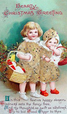 Old postcard, Hearty Christmas Greetings! #vintage #Christmas #cards