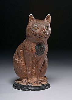 LARGE CHALKWARE CAT - American, likely Pennsylvania, 19th century