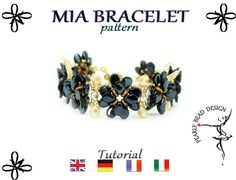 MIA BRACELET pattern with PIP beads, tutorial by PearlyBeadDesign on Etsy