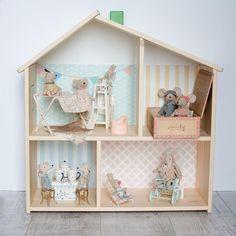 Dollhouse Windows, Ikea Dollhouse, Ikea Kids, Black Furniture, Ikea Furniture, Kallax, Ikea Duktig, Doll House Wallpaper, Buy Stickers