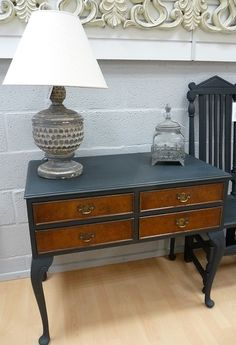 This great 1920's 4 Drawer Walnut Desk painted in Autentico 'Nearly Black'