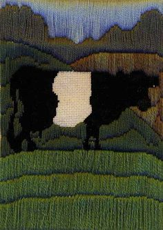An experiment in Long Stitch based on a poster from the Golden Gate National Recreation Area with a different kind of cow. Done in EPiC crewel wool, I don't think it was particularly successful. Image & design copyright Napa Needlepoint.