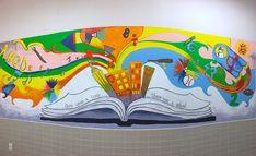 Mural for kids Kids Wall Murals, Murals For Kids, Mural Wall Art, Mural Painting, Art For Kids, Wall Decals, School Murals, Art School, Classe D'art