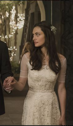 Hayley from the Originals. Beautiful wedding dress and hair. Can you believe the show made this dress!