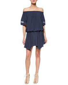 Jessa+Plisse+Off-the-Shoulder+Dress,+True+Navy+by+Ramy+Brook+at+Neiman+Marcus.