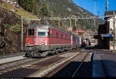 Re # 11685 and a Re 620 (Re in multiple pulling a freight through Wassen station. Swiss Railways, Light Rail, Electric Locomotive, Switzerland, Train, Cars, Zug, Vehicles, Autos