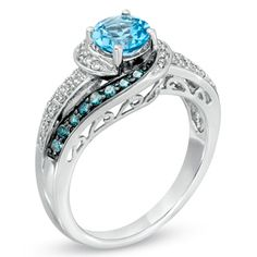 Swiss Blue Topaz and 1/3 CT. T.W. Enhanced Blue and White Diamond Ring in 10K White Gold - Zales