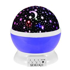 Night Lighting Lamp [ 4 LED Beads, 3 Model Light, 4.9 FT(1.5 M) USB Cord ] Romantic Rotating Cosmos Star Sky Moon Projector , Rotation Night Projection for Children Kids Bedroom(Purple)
