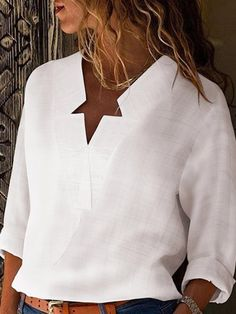 Fashion Trend News Sexy V Neck Pure Color Blouses.Fashion Trend News Sexy V Neck Pure Color Blouses Star Fashion, Fashion Outfits, Fashion Blouses, 70s Fashion, Modest Fashion, Korean Fashion, Fashion Tips, Maxi Robes, Winter Fashion Casual
