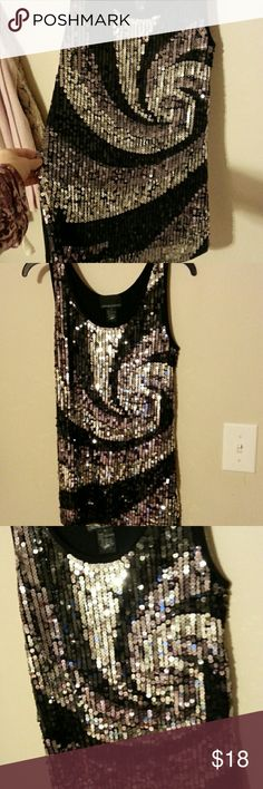 Sequined long tank Long tank.  Sequins in swirl design.  Excellent condition Cynthia Rowley Tops