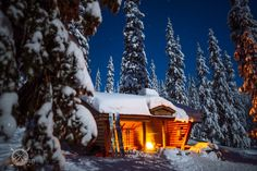 Shelter in moonlight in the Ylläs Fells in north Finland. Lapland is magical!