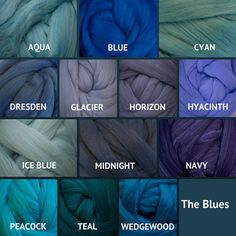 Merino Wool Roving - Felting Fiber - Spinning Fiber - The Blues - sold by the ounce Colour Pallete, Colour Schemes, Color Trends, Color Combos, Color Shades, Shades Of Blue, Color Mixing Chart, Color Combinations For Clothes, Color Palette Challenge