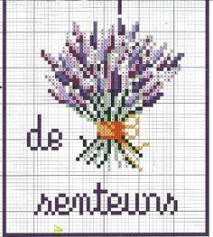 2 of 2, lavender/lavande cross stitch, Bouquet de senteurs