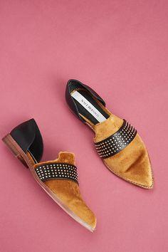 Slide View: 6: Matt Bernson Velvet Sterling Studded Loafers