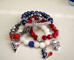 Houston Texans Charm Bracelets, Honesty Bracelets, NFL Bracelets, NFL Bling