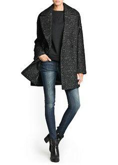 MANGO - PRENDAS - Abrigos - Abrigos - Abrigo oversize lana textura