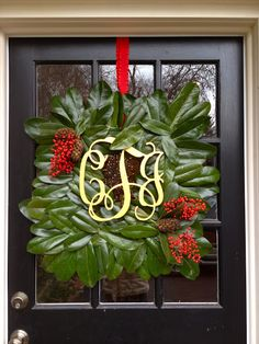 Antsi-Pants: Southern Style Magnolia Wreath with Wood Monogram