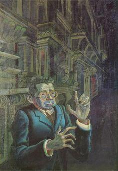 Otto Dix (1891-1969) Portrait Of The Painter Adolf Uzarski. Uzarski era un pintor, ilustrador y escritor alemán que pertenecía al grupo Nueva Objetividad, al igual que Dix. Aunque es muy guapo Dix lo retrata deformado como si fuese un troll, con manos largas y tonos verdosos