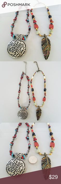 Chico's Southwest Style Beaded Necklace Bundle Chico's Southwest Style Beaded Necklace Bundle - Both necklaces are approximately 20 inches end to end.  Feather necklace pendant style with stone, wood, metal and glass beads, adjustable clasp. Metal feather pendant.   Circle pendant necklace, metal circle pendant with mixed stone and metal beads. Adjustable clasp.   Quarter in picture for size reference. Chico's Jewelry Necklaces