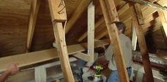 "How to easily build storage shelves in attic with sloping roof. All you need is some 2x4's and 1"" thick shelving and screws."