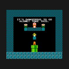 Legend of Zelda mash-up with Super Mario Brothers – this T-shirt doubles the Nintendo NES geek goodness for any classic video gamer