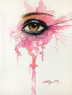 Beautiful Illustrations by Ulyana Regener, open your eyes : http://www.heyhoney.com/eye-contour-lifting-fluid/