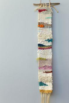 "Over the rainbow, mini weaving - Cathy McMurray 20"" x 2"", $75.00"