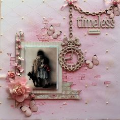 Timeless Moments ~ Simply designed heritage page with elegant stencil and dimensional pearls background.
