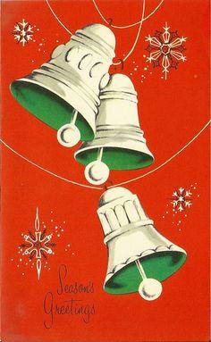 vintage Christmas bells and snowflakes Vintage Greeting Cards, Vintage Christmas Cards, Retro Christmas, Christmas Greeting Cards, Christmas Greetings, Christmas Artwork, Christmas Past, Christmas Pictures, Christmas Holidays