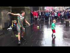 The Happiest Street Performer In The World, Shown Up By Little Guy - YouTube watch the kid at teh 1:30 mark, best entrance ever