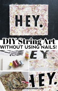 Learn how to make DIY string art on a canvas without using any nails! This is a great string art craft for kids!
