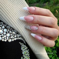 LATEST FRENCH NAIL ART DESIGNS IDEAS 2019 : The French nail styles that were sorted out a few days ago were more formal, and the overall design is tidy and elegant. Today's article collects more lively styles, suitable for travel, vacation, and wedding French Nails, French Stiletto Nails, French Acrylic Nails, Cute Acrylic Nails, Cute Nails, Pretty Nails, Hair And Nails, My Nails, Nailart