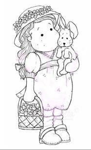 .tilda avec un lapin dans les bras - Pâques