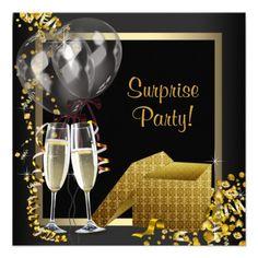 Champagne Confetti Black Gold Surprise Party Personalized Invites 30th Birthday Invitations