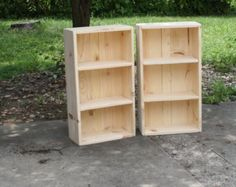 Rustic Natural Wood Book Shelf Bookcase LOT OF TWO Bathroom Hall Entry Kitchen Crafts Display Storage 8wx16.25lx30.5h Custom Sizes Colors