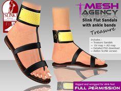 "Slink Flat Sandals + Ankle Bands ""Treasure"" - FULL PERM"