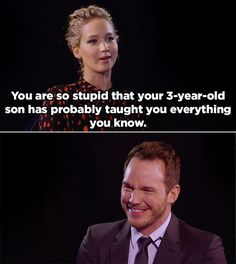 At first, J. Law and Chris seemed pretty evenly matched.