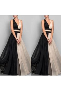 İki Renk Şifon Elbise